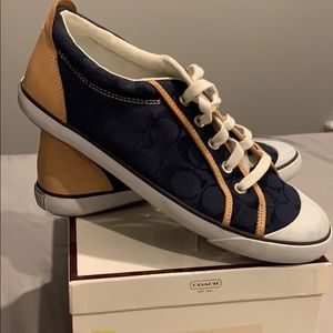Coach Navy and Natural converse style shoes